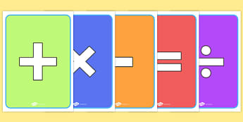 Maths Signs Posters - Maths Signs, Maths Symbols, Foundation Maths, Math, KS1 Maths, Large Maths Signs, Foundation numeracy, Counting, numeracy, mathematical language, operation signs, addition, subtraction, multiplication,division, equals