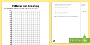 Patterns and Graphing (1) Activity Sheet - coordinates, graphing, patterns, coordinate pairs, coordinate plane