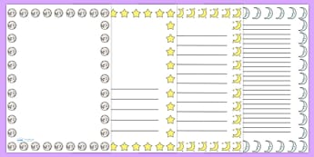 Stars and Moon Night Time Portrait Page Borders - star and moon page borders, stars page border, moon page border, night page borders, night writing frames