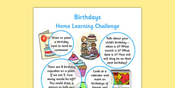 EYFS Birthdays Home Learning Challenge Sheet Reception FS2 - EYFS planning, early years planning, homework, celebrations