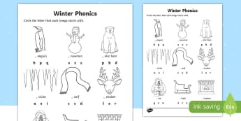 Winter Word Phonics Activity Sheet - Winter Resources, words, language, English, initial sounds, Worksheet