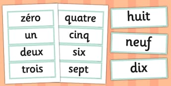 French Numbers 0-10 Vocabulary Cards - french, numbers, cards