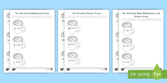 Hot Chocolate with Marshmallows Arrays Differentiated Activity Sheets - multiplication, division, arrays, math strategies, winter, snow, hot chocolate, hot cocoa, marshmall
