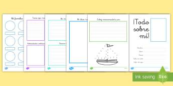 Cuadernillo: Todo sobre mí - todo sobre mí, cuaderno, cuadernillo, curso nuevo, cambio de curso, yo mismo, yo, mí,Spanish
