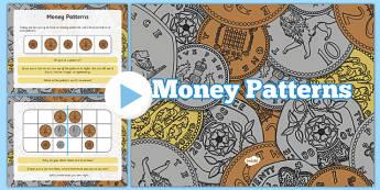 Money Patterns PowerPoint - welsh, cymraeg, Money Patterns, Symmetry, Reasoning in the classroom