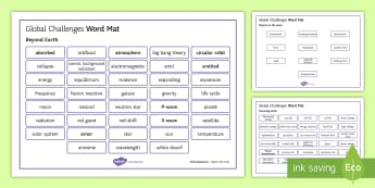 OCR Gateway Physics Topic P8 Global Challenges Word Mat - Word Mat, gcse, physics on the move, powering earth, beyond earth, keywords