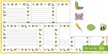 Page Borders to Support Teaching on The Crunching Munching Caterpillar - writing aid