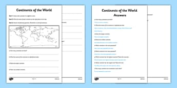 Continents of the World Worksheet / Activity Sheet - continents, worksheet / activity sheet. comprehension, map, questions, worksheet