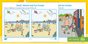 Sand, Waves and Ice Cream Spot the Difference Activity Sheet - ROI, Exploring My World, Aistear, Seaside, Beach, English, Activity, worksheet, Display, Story,