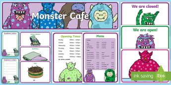 Monster Themed Cafe Role-Play Pack  - Cafe, shop, role play, price, prices, poster, display, menu, role play, order, waitress, customer, w