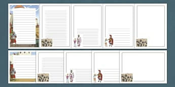 History Hackers: Roman Rescue Page Border Pack - writing, lined, originals, story, soldier, emperor, empire, paper
