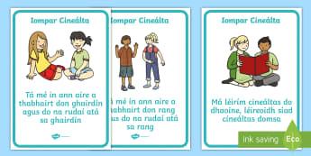 Póstaeir: Iompar Cineálta - Bainistiú Ranga, Classroom Management, Bainistiú Iompair, Behaviour Management, Áiseanna Amhairc,