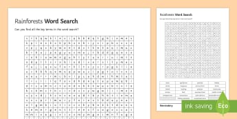 Rainforests Word Search - key terms, glossary, ks4, gcse, living world