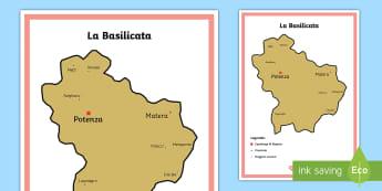 Scuola Primaria: La Basilicata Cartina Politica - italia, regioni, regionale, geografia, mappa, italiano, italian, materiale, scolastico