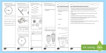 Year 3 Maths Measurement Assessment 1  - year 2, measurement, space and measurement, assessment, measure, assess, progress, tracking, test