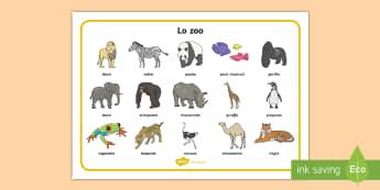 Lo zoo Vocabolario Illustrato - lo, zoo, animali, zebra, giraffa, elefante, parole, vocaboli, illustrazioni, italiano, italian, mate