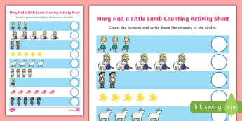 Mary Had a Little Lamb Counting Sheet - mary had a little lamb, nursery rhyme, counting