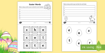 Easter Words Activity - words, Easter, small words, special needs, literacy, english