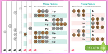 Money Madness (greater than and less than) Activity Sheet Pack, worksheet
