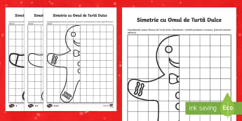 Simetrie Omul de Turtă Dulce Fișe pentru activitate diferențiată - crăciun, iarna, simetrie, matematică, matematica, fisa, română, materiale, romana, Romanian