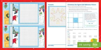 Christmas Six-Figure Grid Reference Activity Sheets  - maps, plotting, KS3, KS4, santa
