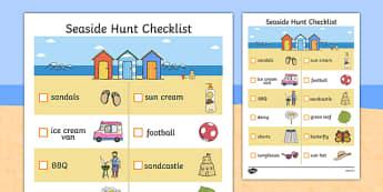 Seaside Hunt Checklist - seaside, seaside checklist, seaside hunt, objects at the seaside, beach, beach hunt, seaside scavanger hunt, seaside worksheet