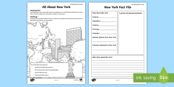 All about New York Worksheet / Activity Sheet - research new york, internet research, new york, finding out about new york, worksheet, amazing fact