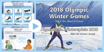 KS2 Winter Olympics 2018 Information PowerPoint English/German - South Korea, Sports, Winter, Skiing, EAL, German