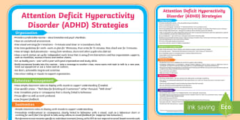 ADHD Support Strategies Display Poster - SEN, attention deficit hyperactivity disorder, advice, techniques, behaviour, managing