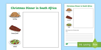 Christmas Dinner in South Africa Writing Activity Sheet - writing frame, christmas, dinner, creative writing, writing prompt, braai, turkey, salad, food