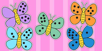 Number Bonds to Ten on Butterflies - number bonds, butterflies