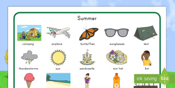 Summer Word Mat - English, vocabulary,  key words, vacation, writing aid, start of the year, end of the year, june, au