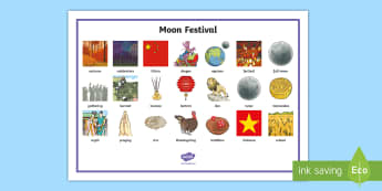 Moon Festival Word Mat - moon festival, mis-autumn festival, harvest, moon, celebrations, festival, word mat, vocab, vocabula