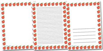 Smiley Apple Portrait Page Borders- Portrait Page Borders - Page border, border, writing template, writing aid, writing frame, a4 border, template, templates, landscape
