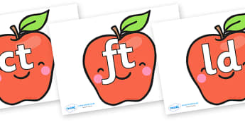 Final Letter Blends on Cute Smiley Apple - Final Letters, final letter, letter blend, letter blends, consonant, consonants, digraph, trigraph, literacy, alphabet, letters, foundation stage literacy