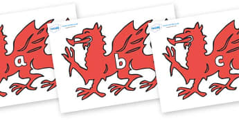 Phase 2 Phonemes on Welsh Dragons - Phonemes, phoneme, Phase 2, Phase two, Foundation, Literacy, Letters and Sounds, DfES, display