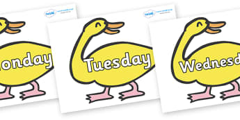 Days of the Week on Yellow Duck to Support Teaching on Brown Bear, Brown Bear - Days of the Week, Weeks poster, week, display, poster, frieze, Days, Day, Monday, Tuesday, Wednesday, Thursday, Friday, Saturday, Sunday