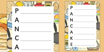 Pancake Acrostic Poem Template - pancake, poem, poetry, literacy