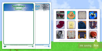 Photo Summer and Winter Clothes Sorting Activity English/Afrikaans - seasons, weather, temperatures, holiday, seisoene, weer, EAL