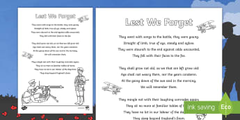 Lest We Forget Poem Colouring Page - Key Stage One, Remembrance Day, Eleventh, November, Two Minute Silence, 2 minute silence, Army, Sold