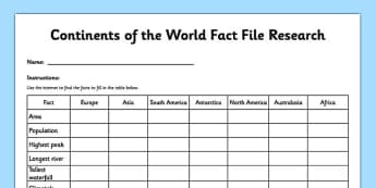Continents of the World Fact File Research Activity Sheet - continents, fact file, research, activity sheet, internet, worksheet