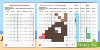 Christmas Subtraction Mosaic Activity Sheets - Christmas, subtraction, mathematics, independent activity, worksheet, activity sheet