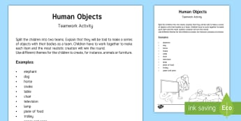 Human Objects Team Building Game - pe, gym, team challenge, challenge, activity, physical, active