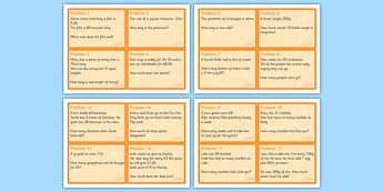 Maths Problem Cards Year 4 - maths, problem, cards, maths problem, numeracy, year 4, ks2