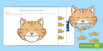 Feed the Cat Counting Game - pets, class pets, family pets, counting game, pets counting game, cats, pre-k math, kindergarten mat