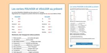 Les verbs POUVOIR et VOULOIR au présent - present tense, pouvoir, vouloir, present, tense