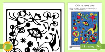 Hoja de colorear:  Pinta como Miró  - Miró, Surrealismo, Arte, Dibujo, Pintor,Spanish