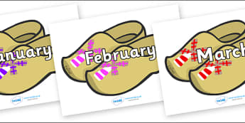 Months of the Year on Wooden Shoes - Months of the Year, Months poster, Months display, display, poster, frieze, Months, month, January, February, March, April, May, June, July, August, September