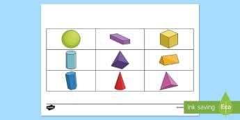 3D Shape Barrier Game - Barrier Games, EAL, speaking, listening, talking, describe, shape, 3D, solid, properties