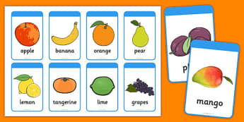 Fruit Flashcards - Fruit names, Fruit Flashcards, Fruit Pictures, Fruit Words, Foundation stage, apple, orange, satsuma, pear, banana, tangerine, pineapple, grapes